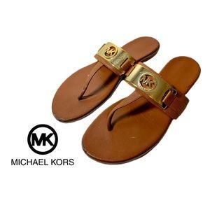 Michael Kors Saddle Tan Gold Emblem Thong Sandals